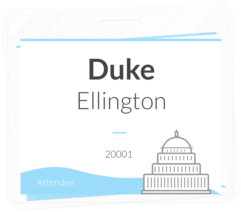 Create engaging name badges that fit the Washingtonian style